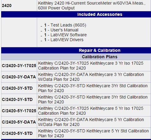 Phu kien Keithley 2420-C High-Current SourceMeter