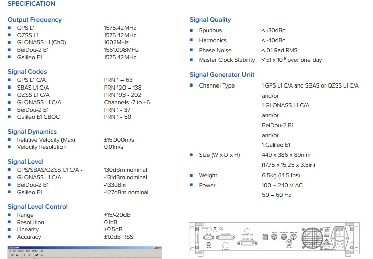 Spirent GSS6300 specification
