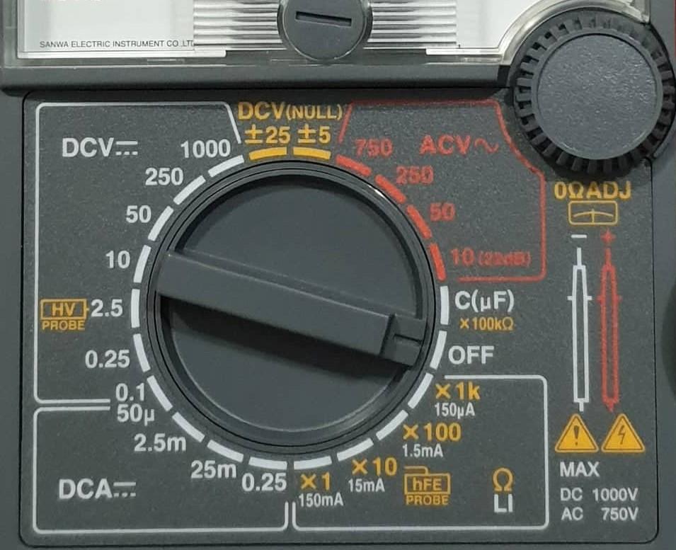 Chia thang đo dòng điện trên đồng hồ vạn năng kim