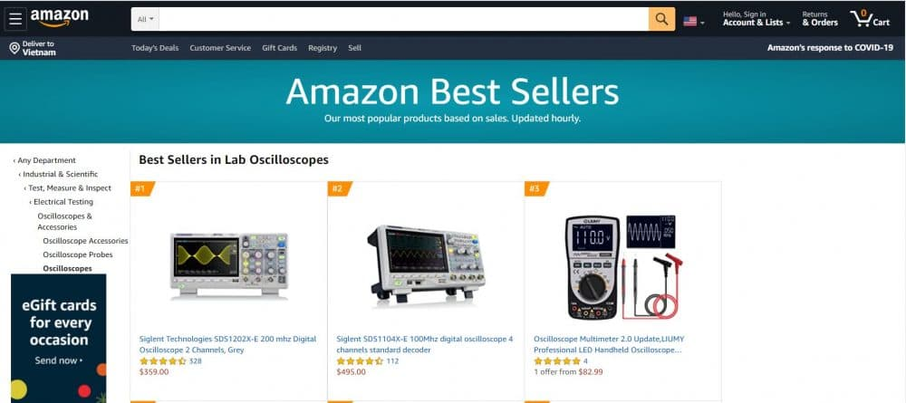 Oscilloscope giá rẻ chất lượng nhất Amazon